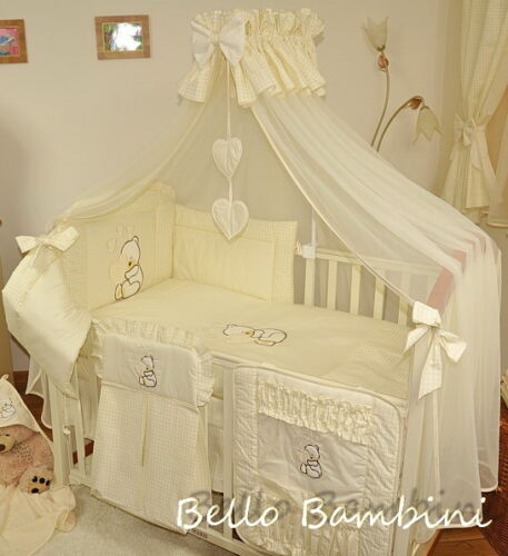 7p BabyBeddingSet//Bumprer//Canopy//Free Floor Standing Pole to Fit Cot or Cot Bed