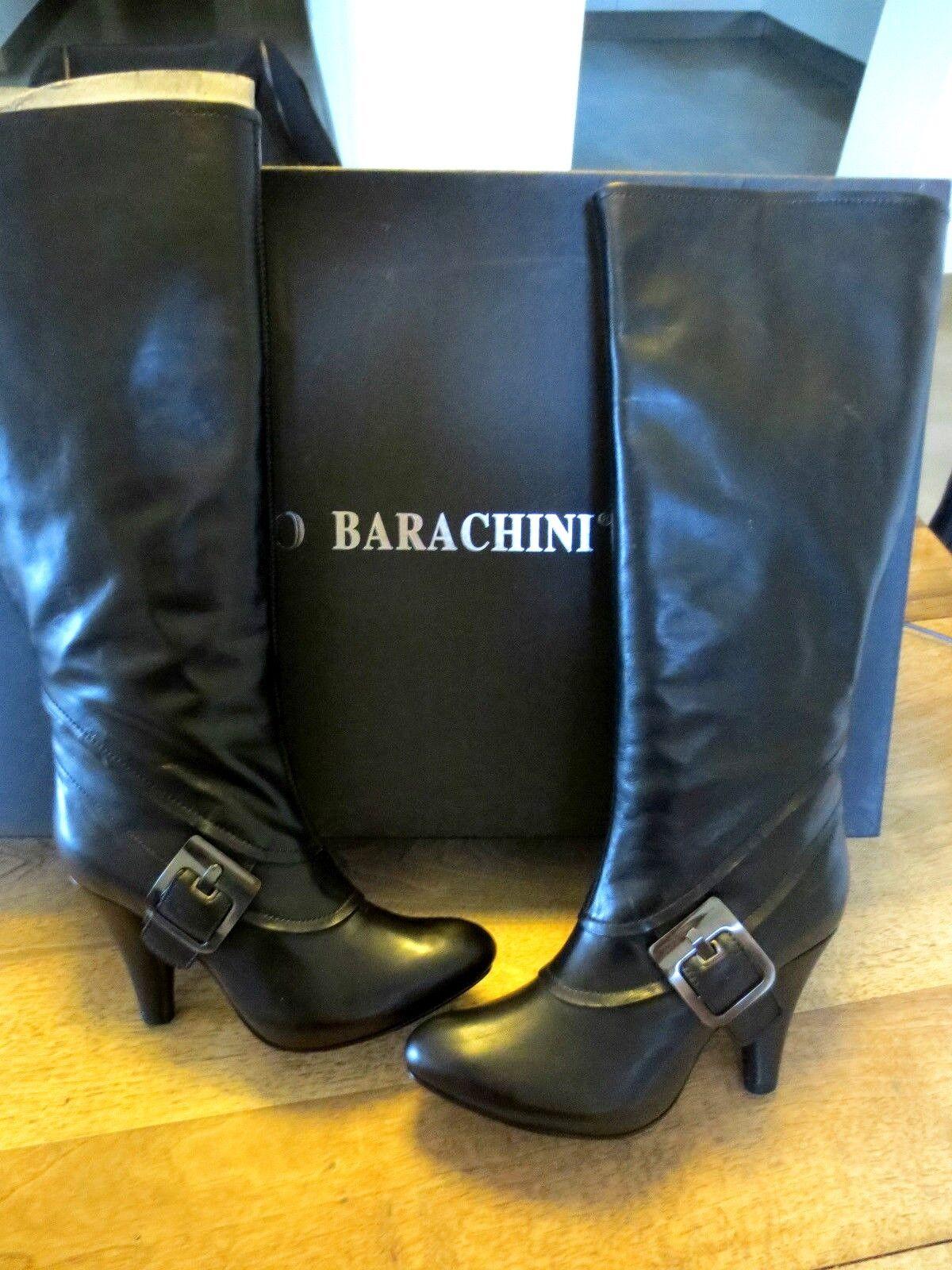 Mittelhoch Stiefel Plattform BARACHINI Kalb 9cm schwarz Absatz 9cm Kalb 094a26
