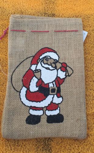 3 Weihnachts  Geschenkbeutel aus Jutestoff  NEU mit Edikett und Bild