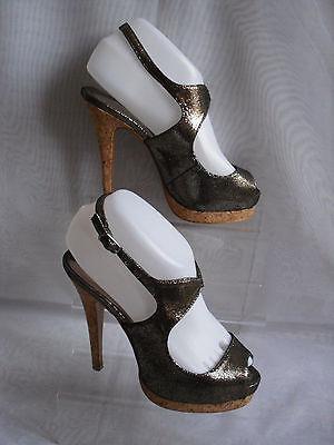 Atmósfera de bronce Sintético para Mujer Tacón Alto Charol Zapatos Talla: 4/37 (WHS210)