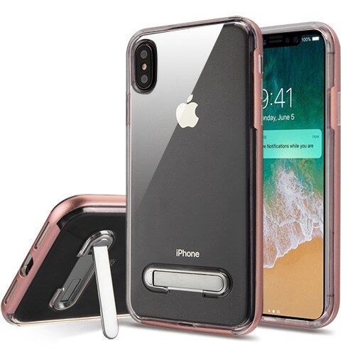 Rose Gold Transparent Clear Cover Magnetic Metal Stand Apple Iphone