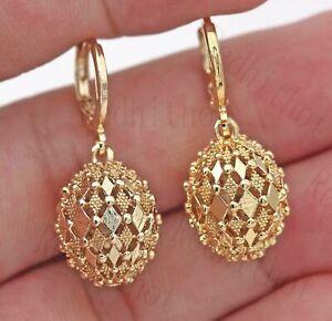 Women-18K-Gold-Filled-Earrings-Rhombus-Hollow-Ball-Dangle-Fashion-Stud-Hoop