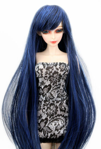 8-9 1//3 BJD Wig SD LUTS Dollfie Doll Black Mix Blue DZ DOD Hair Long