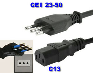 italy, chile, south america pc, kettle power cord. iec 60320 c13 to