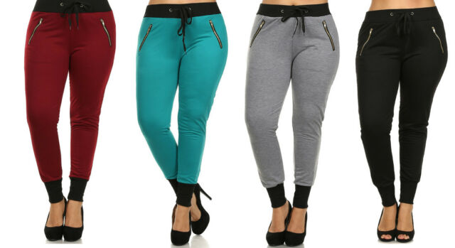 NEW Women's Plus Size COLORS Cuff Drawstring Jogger Pants Zipper Sweats 1X 2X 3X