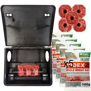 Elixir Rat Box+Bait Bromadiolone Rodex Poison Kit Ready To Use Child Friendly