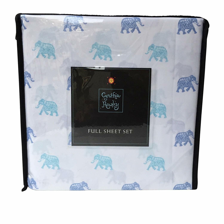 Cynthia Rowley 4 Piece Sheet Set blueeeee and Aqua Elephant Pattern Microfiber