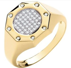 Men-039-s-9ct-Yellow-Gold-Octagon-Cubic-Zirconia-Gents-Ring-UK-Jewellers