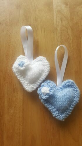 Lovely Soft Knitted Hearts Pram//Cot Charms...Nursery//Childs Room Decor set of 2