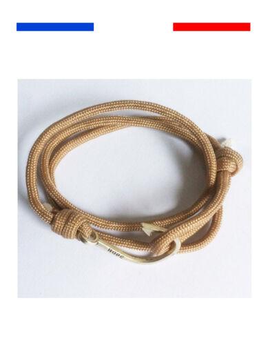 Bracelet mixte homme femme Hamecon Argent Hope Pêche pêcheur cordon tom