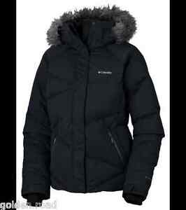 COLUMBIA LAY D DOWN JACKET WOMENS BLACK 550 FILL DOWN INSULATED ...