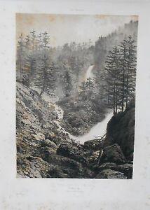 Lithographie - Cascade Du Cœur - Luchon - Vallée Du Lys - Pyrénées - Circa 1850 Dernier Style