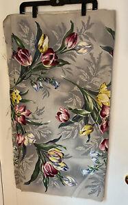 Vtg-Floral-Barkcloth-5-Yards-1-Piece