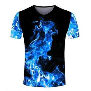 Red blue fashion women mens designs on fire 3d print for Design custom printed shirts