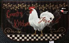 "RARE PRINTED NYLON RUG (non skid back) (18"" x 30""), COUNTRY ROOSTER, D SHAPE"