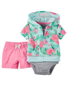 f6362dcb6 Baby Girl Carter's Baby Girls' 3-Piece Cardigan, Bodysuit & Shorts ...