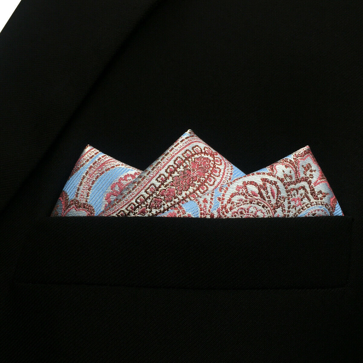 S&W SHLAX&WING New Design Paisley Silk Pocket Square for Men Blue Red Party