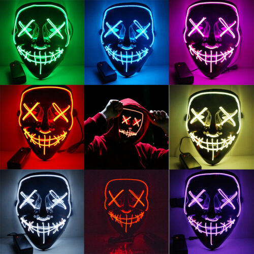 Halloween Stitched Light Up Mask Purge Movie Flash LED Wire Fluorescent Mask UK