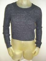 Boy Meets Girl Black/silver Metallic Cropped Cable Knit Sweater Juniors Xl