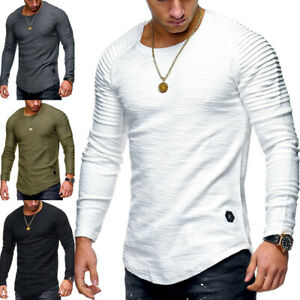 Hombres-Calce-Entallado-Cuello-en-O-Mangas-Largas-Pullover-Musculo-Tee-Camiseta-Blusa-Informal
