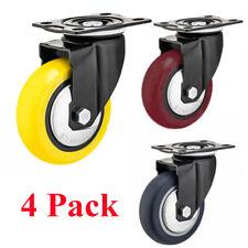 4 Pack 4 Inch Caster Wheels Swivel Plate Polyurethane Wheels Heavy Duty Wheels