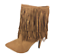 thumbnail 4 - Womens-Ladies-Tan-Faux-Suede-High-Heel-Fringe-Shoes-Ankle-Boots-Size-UK-8-New