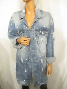 Womens Long Sleeve Distressed Ripped Vintage Blue Denim Jacket 8-14