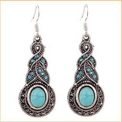 Brand New Silver Tone Chain Turquoise Crystal Rhinestone Hook Earrings  Women