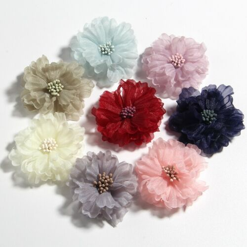 """120PCS 5CM 2/"""" Hair Fabric Flowers Blossom With Matches For Headbands Bouquet"""