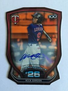 Nick-Gordon-AUTO-22-25-TOP-100-Die-Cut-Chrome-Refractor-2015-Bowman-Baseball