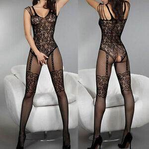 Women Sexy Open Crotch Stockings Crotchless Fishnet Sheer Body ...