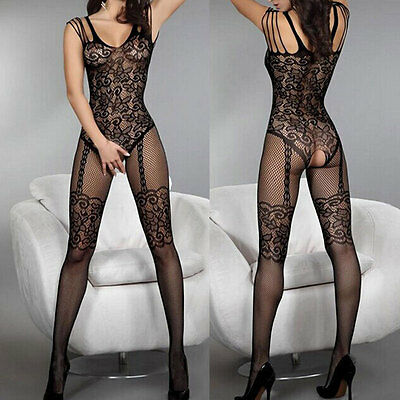 Women Sexy Open Crotch Stockings Crotchless Fishnet Sheer Body Dress Lingerie