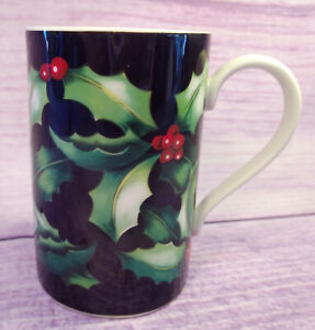 Dunoon-Holly-Stoneware-Black-Coffee-Mug-Cup-Christmas-Caroline-Bessey-Scotland