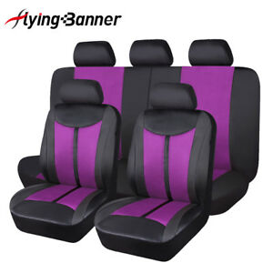 11pcs-Universal-Car-Seat-Covers-PU-Leather-purple-black-Waterproof-Breathable