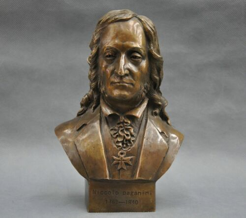 8/'/' Antiques Italian Great Musician Niccolo Paganini Bust Bronze Statue