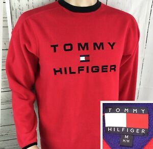 Details about Vintage Tommy Hilfiger Fleece Pullover 90s Spell Out Box Logo Lotus Retro Sz M