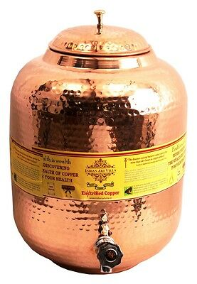 Pure Copper 11.5 ltr. Water Pot Storage Tank With Tap Kitchen Home Good Health