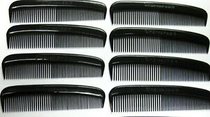 8-UNBREAKABLE-BLACK-PLASTIC-POCKET-HAIR-CARE-COMBS-MEN-039-S-BOYS-GROOMER-USA-MADE