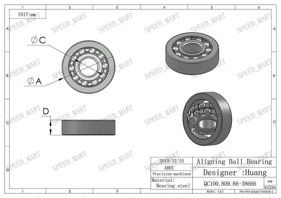 9mm*26mm*8mm bore 9mm Self Aligning Double Row Bearing C3 2 PCS 1029