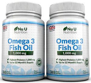 Omega 3 1000mg Fish Oil High Strength 365 x 2 bottles DHA ,EPA 100% Guaranteed