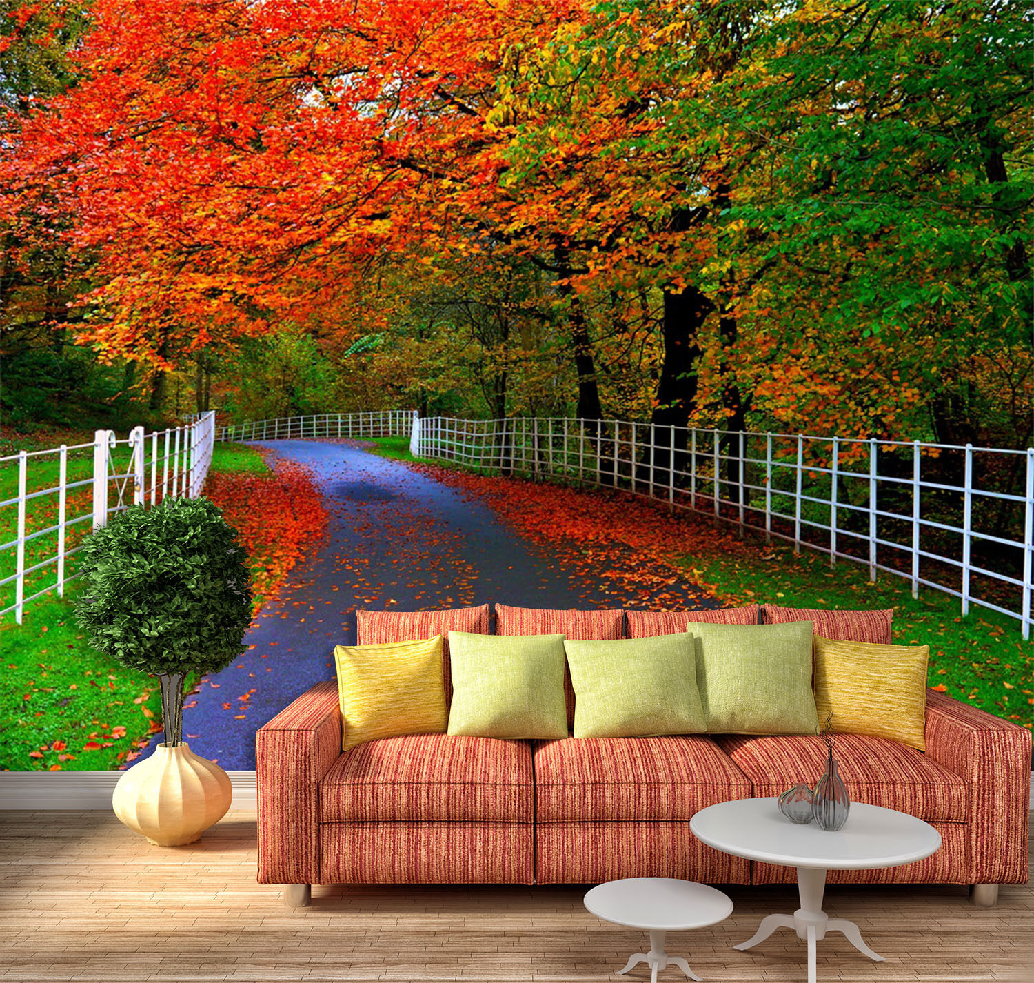 3D Roadside Farbeed Trees 37 Paper Wall Print Wall Decal Wall Deco Indoor Murals