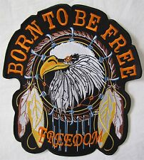 Large Eagle Born To Be Free Bike Motorcycle Biker Embroidered Sew On Badge Patch