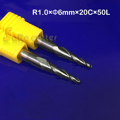 2PC R0.75*D6*20*50L 2 Flute HRC55 Taper Ball Nose Coated End Mill CNC Bit Tool