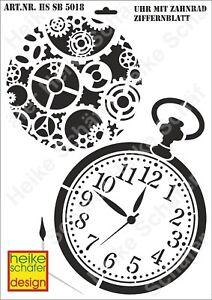 Schablone-Stencil-A3-071-5018-Uhr-mit-Ziffernblatt-Neu-Heike-Schaefer-Design