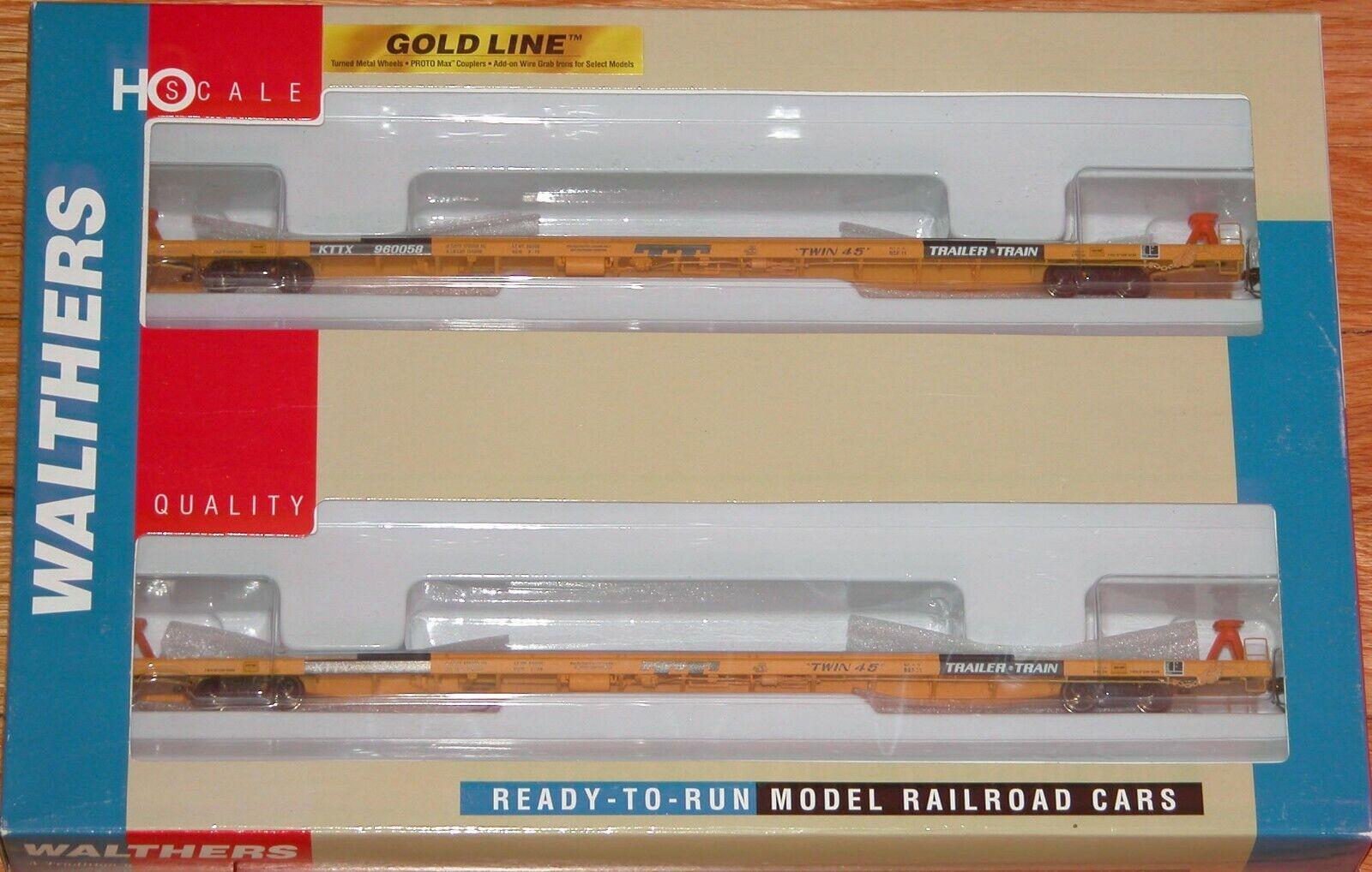 Walthers 932-240326 oro Line 89' cubierta corrida plana coche Twin 45 2-Pack Ttx kttx