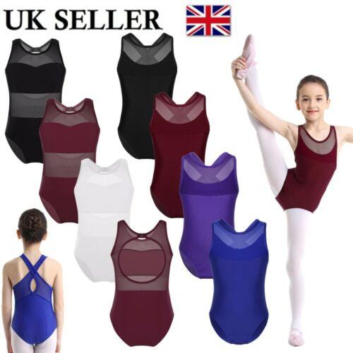 UK Children Girls Ballet Dance Bodysuit Kids Mesh Splice Leotards Gymnastic Wear