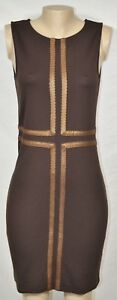 LYNN RITCHIE SILVER Brown Sleeveless Stretchy Dress Small Gold Trim Unlined