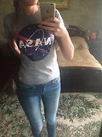 NASA T-shirt Vintage Casual Women's Tops Tee Shirts Gray White Black XS-2XL
