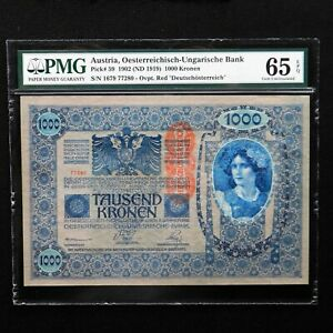 Austria-1902-ND-1919-1000-Kronen-Pick-59-PMG-65-EPQ-Gem-Uncirculated