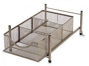org medium under the sink mesh slide out cabinet kitchen storage shelf basket ebay. Black Bedroom Furniture Sets. Home Design Ideas